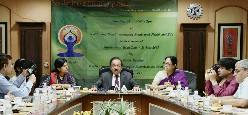 "The Union Minister for Science & Technology, Earth Sciences and Environment, Forest & Climate Change, Dr. Harsh Vardhan addressing at the launch of a mobile app on ""Celebrating Yoga"", ahead of the International Day of Yoga 2017, in New Delhi on June 19, 2017."
