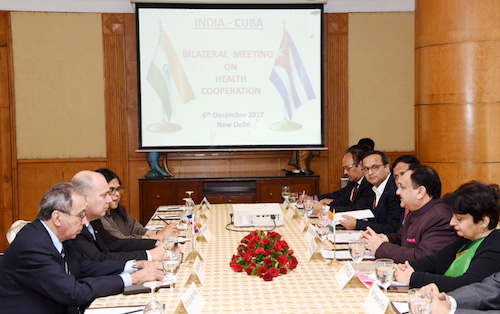 The Union Minister for Health & Family Welfare, Shri J.P. Nadda and the Public Health Minister of Cuba, Dr. Roberto Tomas Morales Ojeda at a Bilateral Meeting on Health Cooperation, in New Delhi on December 06, 2017. The Secretary, Ministry of Health & Family Welfare, Smt. Preeti Sudan is also seen.