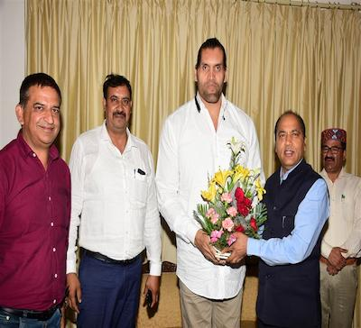The Great Khali calls on CM Himachal Pradesh